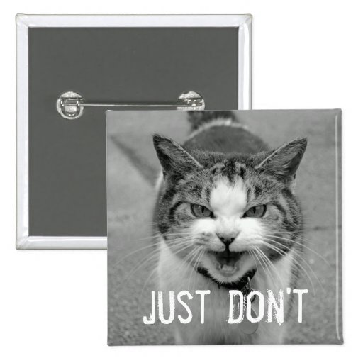 Botón malhumorado del gato pin cuadrado