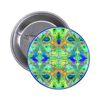 """Botón: """"Mariposas verdes con las piedras preciosas Pin"""