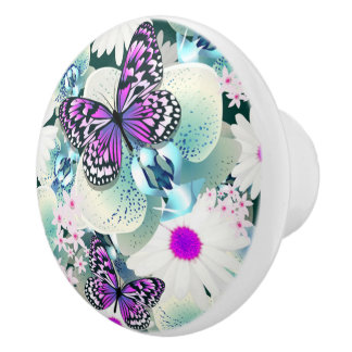 Botón/mariposas y flores de cerámica pomo de cerámica