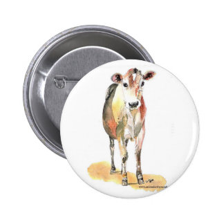 botón marrón de la vaca pin