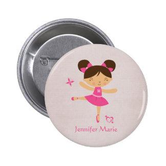 Botón marrón personalizado lindo de la bailarina d pin