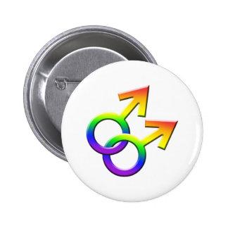 Botón masculino conectado 03 de los símbolos del pin redondo de 2 pulgadas