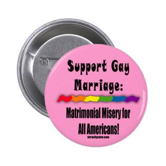 Botón matrimonial de la igualdad de la miseria pin redondo de 2 pulgadas