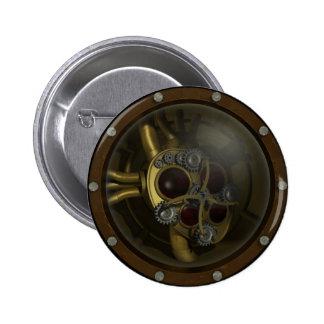 Botón mecánico del corazón de Steampunk Pin Redondo De 2 Pulgadas