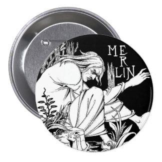 Botón: MERLIN de Aubrey Beardsley Pin Redondo De 3 Pulgadas