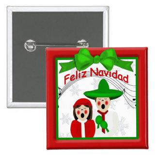 Botón mexicano de los pares de los Carolers del na Pin Cuadrado