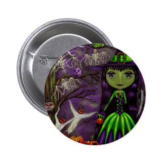Botón misterioso de Halloween de la noche Pin Redondo De 2 Pulgadas