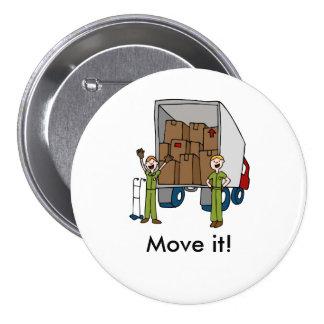 Botón móvil de los hombres del camión pin redondo de 3 pulgadas