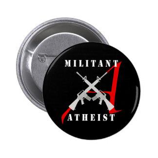 Botón negro ateo militante pin redondo de 2 pulgadas
