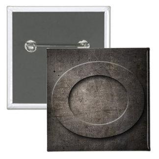 Botón negro de bronce del cuadrado del monograma pin cuadrado