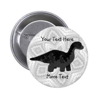 Botón negro de Dino Pin Redondo De 2 Pulgadas