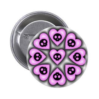 Botón negro de los corazones pin redondo de 2 pulgadas