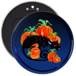 Botón negro del gatito de Halloween Pin