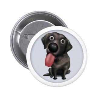 Botón (negro) del labrador retriever pin redondo de 2 pulgadas