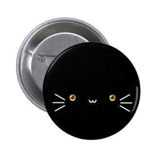 botón negro del neko pin redondo de 2 pulgadas