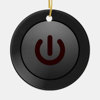Botón negro - en símbolo adorno navideño redondo de cerámica