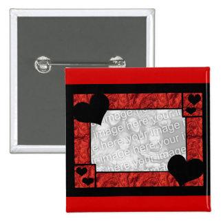 Botón negro rojo de la plantilla del marco del cor pin cuadrado