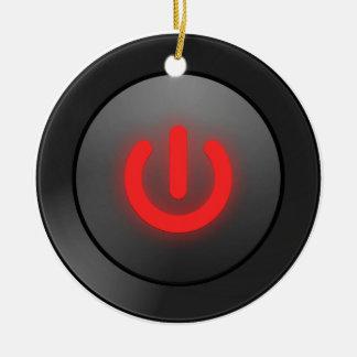 Botón negro - rojo - del símbolo adorno navideño redondo de cerámica