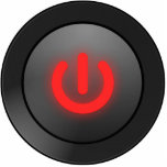 Botón negro - rojo - del símbolo esculturas fotograficas