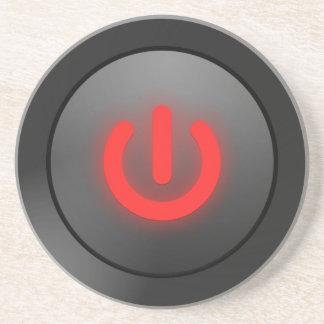 Botón negro - rojo - del símbolo posavasos diseño