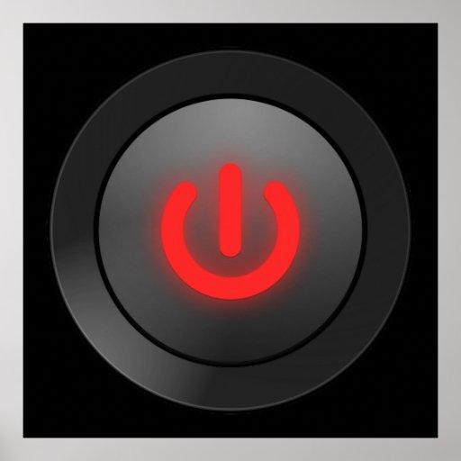 Botón negro - rojo - del símbolo póster