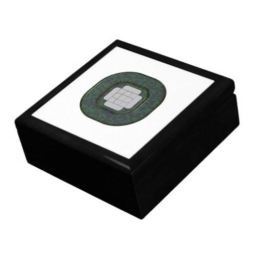 Botón negro verde cajas de joyas