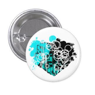 Botón negro y azul del corazón pin redondo de 1 pulgada