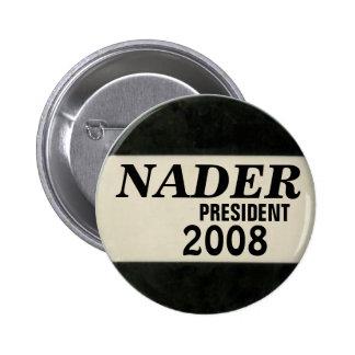Botón negro y blanco de Nader Pin Redondo De 2 Pulgadas