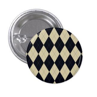 Botón negro y poner crema de Argyle Pin Redondo De 1 Pulgada