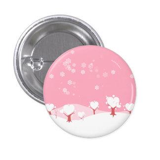 Botón nevoso rosado de los árboles del corazón pins