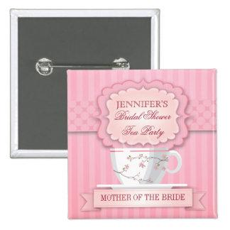 Botón nupcial de la ducha de la fiesta del té rosa pin