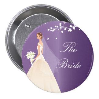 Botón nupcial del fiesta de la novia Amethyst