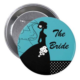 Botón nupcial del fiesta de la novia de la silueta pin redondo de 3 pulgadas