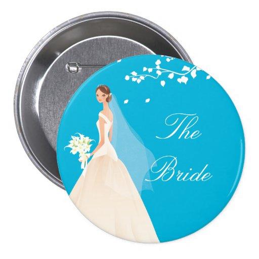 Botón nupcial del fiesta de la novia de la turques pin
