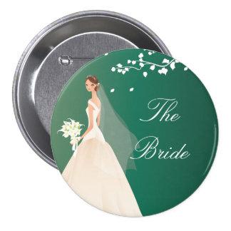 Botón nupcial del fiesta de la novia del verde esm pin redondo de 3 pulgadas