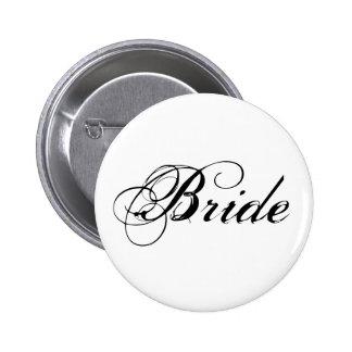Botón nupcial del fiesta de la novia elegante pin redondo de 2 pulgadas