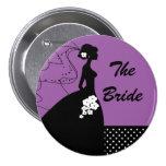 Botón nupcial del fiesta de la novia púrpura de la pins