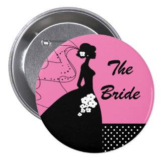Botón nupcial/Pin del fiesta de la novia de la sil