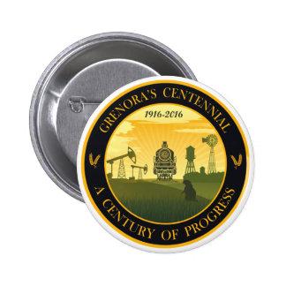 Botón oficial centenario del logotipo de Grenora Pin Redondo De 2 Pulgadas