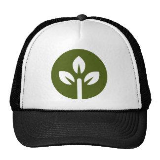 Botón orgánico del icono de la hoja gorras de camionero