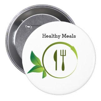 Botón orgánico sano del círculo del utensilio de