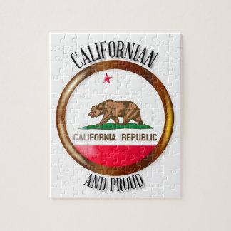 Botón orgulloso de la bandera de California Puzzle