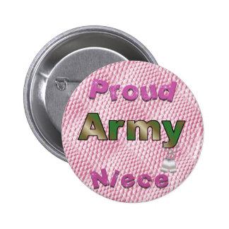 Botón orgulloso de la sobrina del ejército pin redondo de 2 pulgadas