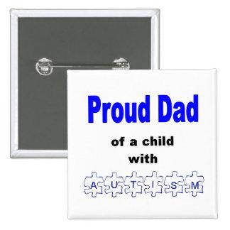 Botón orgulloso del papá pin cuadrado