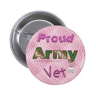 Botón orgulloso del rosa del veterinario del ejérc pin redondo de 2 pulgadas