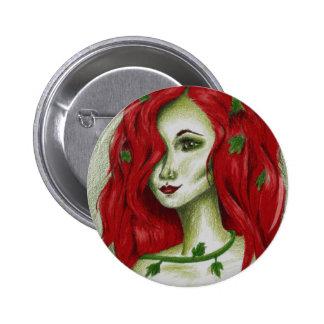 Botón original del arte de la fantasía del Redhead