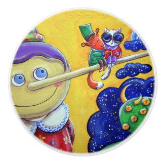 Botón original del cajón de los ejemplos del arte pomo de cerámica