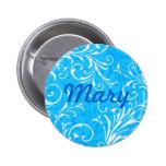 Botón ornamental azul de encargo pins
