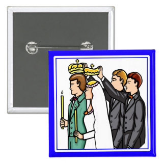 Botón: Ortodoxo ruso Pin Cuadrado