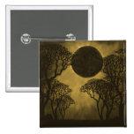 Botón oscuro de oro del eclipse del bosque pin